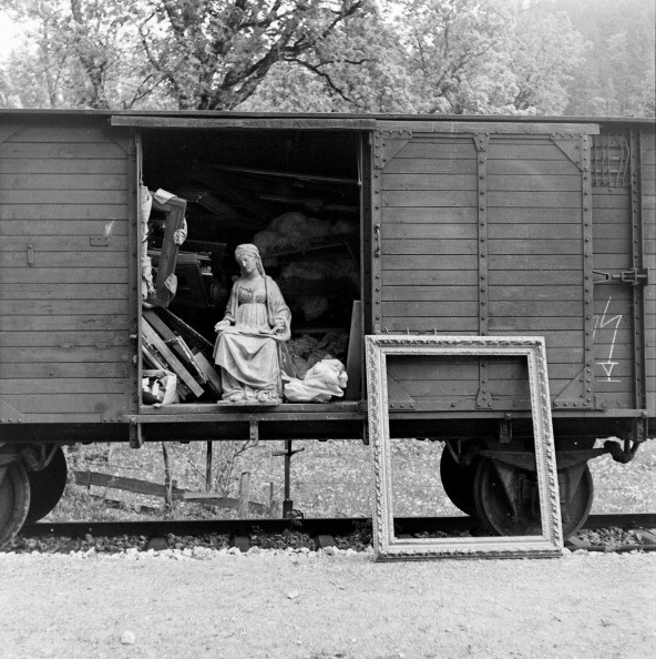 View of a train boxcar, through the open door of which can be seen some of the art collection looted by the Nazis and Hermann Goering, near Berchtesgaden, Germany, 1945. (Photo by William Vandivert/The LIFE Images Collection/Getty Images)