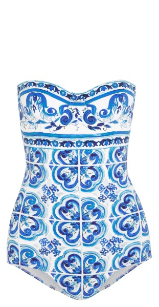 Dolce & Gabbana printed underwired swimsuit, $795, Net-A-Porter.com