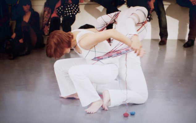 Mary Valverde, Allegiance Dance (Video Still No.3), (2011). Performance with Chloe Reison. (Photo: mary-a-valverde.com)