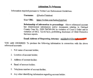 Page 5 of the subpoena Twitter received demanding it expose a user's identity.