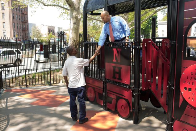 If the plan for new Bronx Borough President Ruben Diaz Jr. greets a constituent at a Bronx park (Photo: Aaron Adler for Observer)