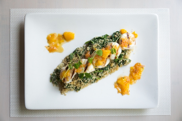 Grilled scallops with tarragon-citrus butter, baby spinach, toasted quinoa (Photo: Courtesy)