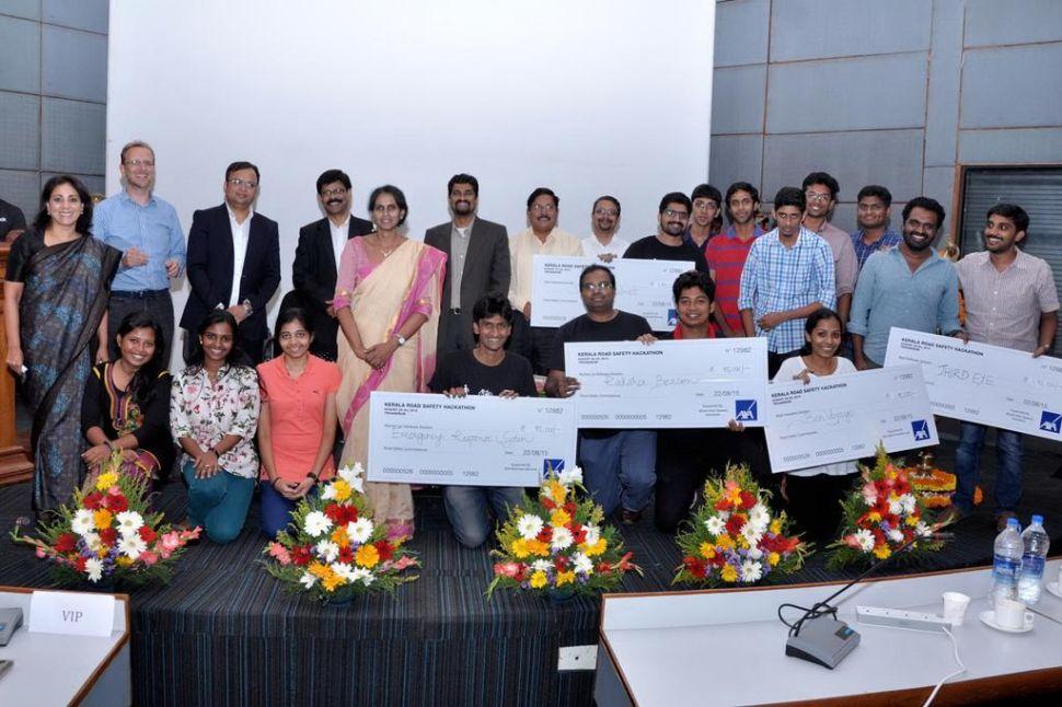 Kerala Road Safety Hackathon winners. (Photo: Angelhack)
