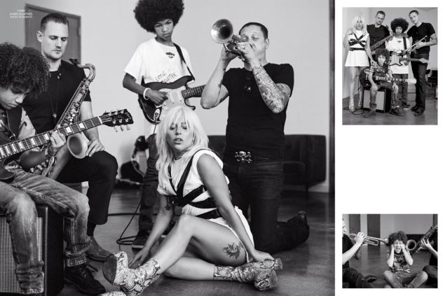 Lady Gaga in American Apparel and Vetements shoes. (Photo: CR Fashion Book/Bruce Weber)