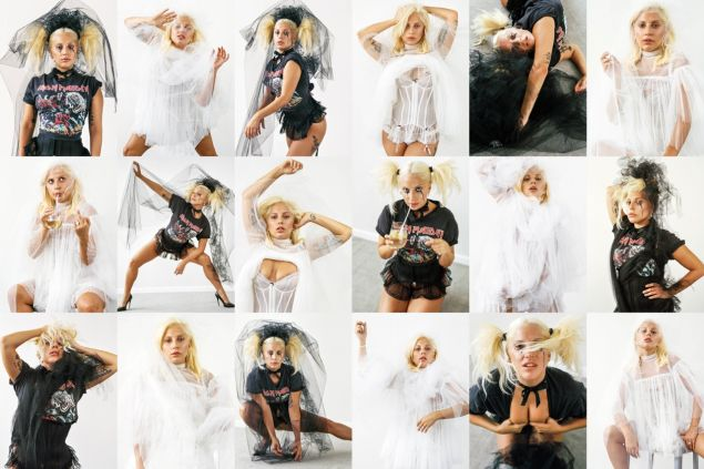 Lady Gaga's contrasting bridal-inspired looks. (Photo: CR Fashion Book/Bruce Weber)