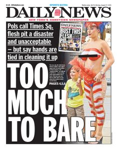 A Daily News front page attacking the topless entertainers. (Photo: Daily News via Getty Images)