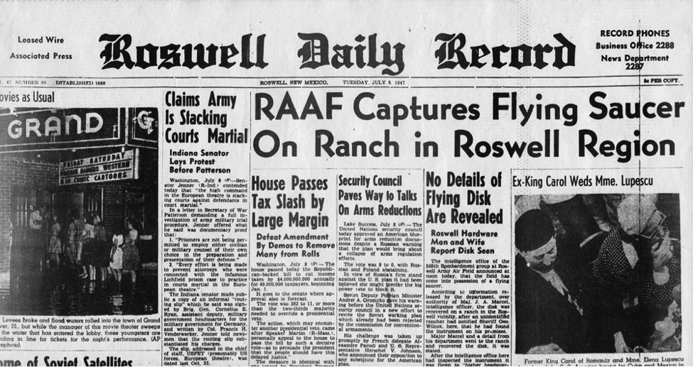 The Roswell Daily Record from July 8th 1947 sparked years of conspiracy theories of government coverup. (Wikimedia)