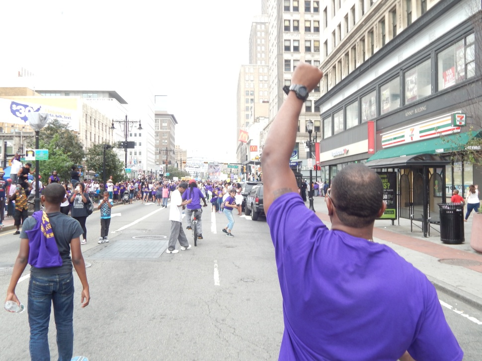 """The arrival downtown of """"The Mighty South Ward"""" led by the Mayor."""