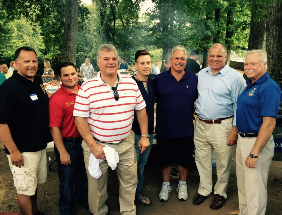 Above, from left, Edison Chairman Keith Hahn, Councilman Michael Lombardi, Council candidate Leonard Sendelsky, County Chairman Kevin McCabe, Mayor Tom Lankey, Senate President Steve Sweeney, and Councilman Robert Karabinchek.