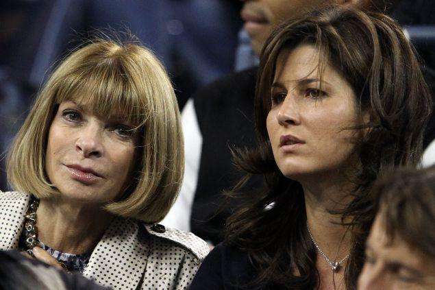 Anna Wintour and Mirka Federer on day 10 of the 2010 U.S. Open. (Photo: Matthew Stockman/Getty Images)
