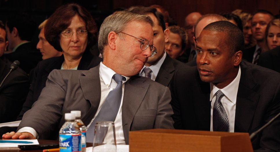 WASHINGTON, DC - SEPTEMBER 21: Google Executive Chairman Eric Schmidt (C) hears from Google Chief Legal Officer David Drummond (R) while testifying before the Senate Judiciary Committee's Antitrust, Competition Policy and Consumer Rights Subcommittee on Capitol Hill September 21, 2011 in Washington, DC. Schmidt faced questions from the subcommittee members about Google, the world's most successful Internet company, and whether it is using its market dominance to squeeze out competitors. (Photo by Chip Somodevilla/Getty Images)