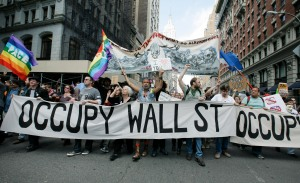 Occupy Wall Street protestors march down Fifth Avenue towards Union Square during a May Day rally. (Photo: Monika Graff/Getty Images)