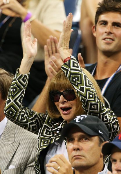 Anna Wintour cheering on day 10 of the 2010 U.S. Open. (Photo: Clive Brunskill/Getty Images)