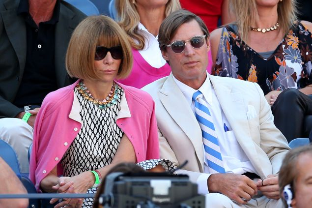 Anna Wintour and Shelby Bryan on day 14 of the U.S. Open. (Photo: Matthew Stockman/Getty Images)