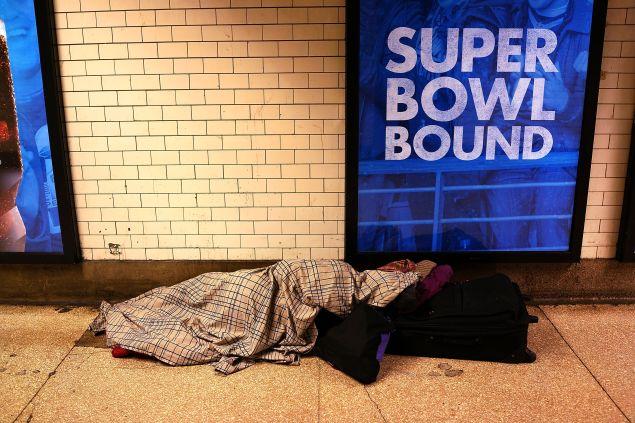 A homeless person in Penn Station (Photo: Spencer Platt for Getty Images)