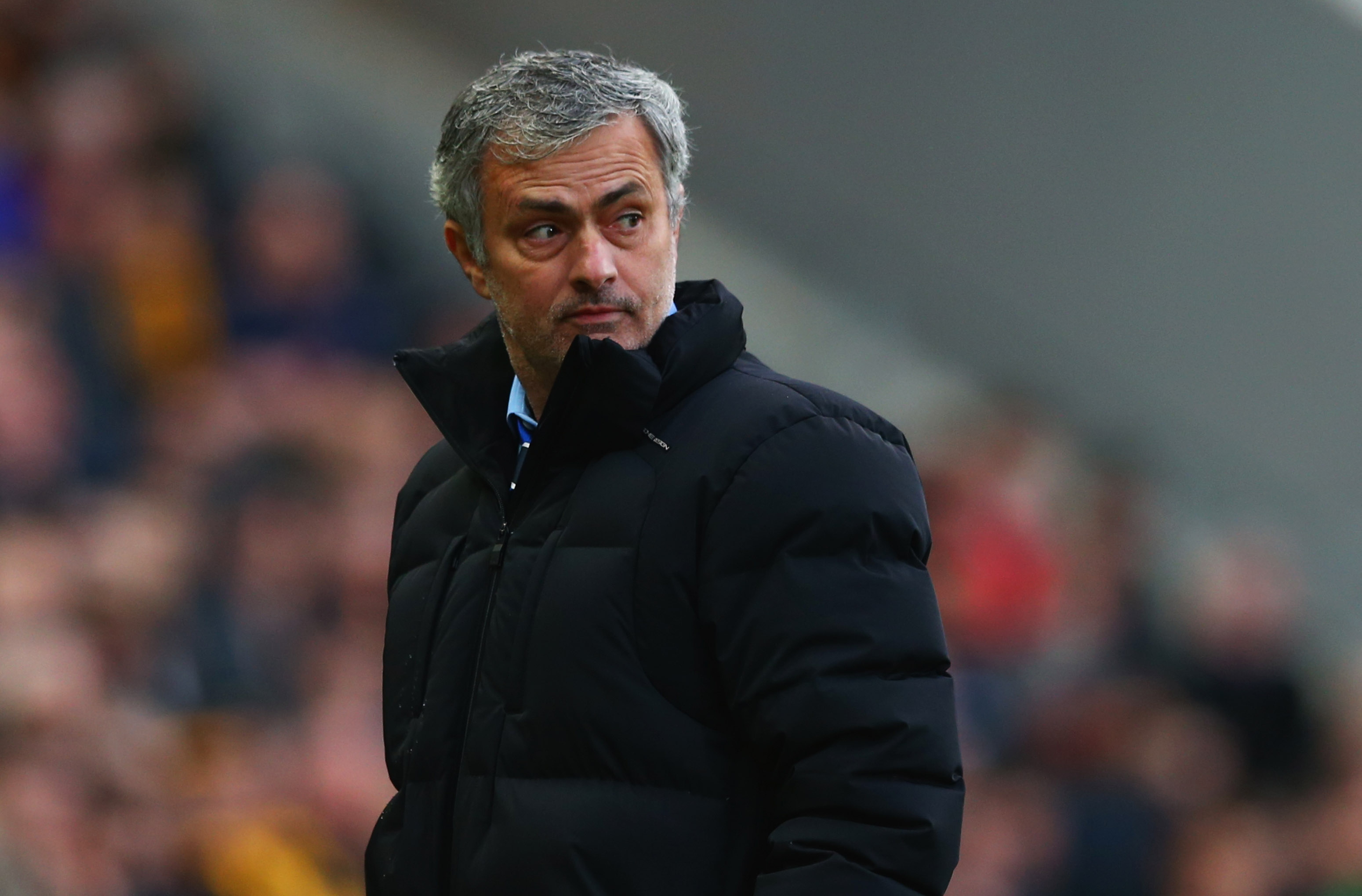 Jose Mourinho manager of Chelsea looks thoughtful during the Barclays Premier League match between Hull City and Chelsea at KC Stadium on March 22, 2015 in Hull, England. (Photo by Matthew Lewis/Getty Images)