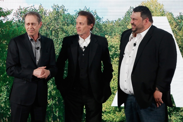 NEW YORK, NY - APRIL 28: (L-R) Actors Steve Buscemi, Michael Buscemi, and Gino Orlando appear on stage during the AOL 2015 Newfront on April 28, 2015 in New York City. (Photo by Brian Ach/Getty Images for AOL)
