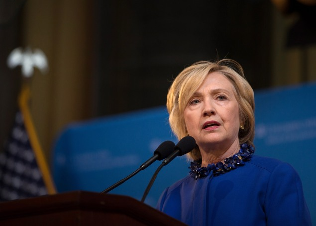 Hillary Clinton speaking about criminal justice at Columbia University earlier this year. (Photo by Kevin Hagen/Getty Images)