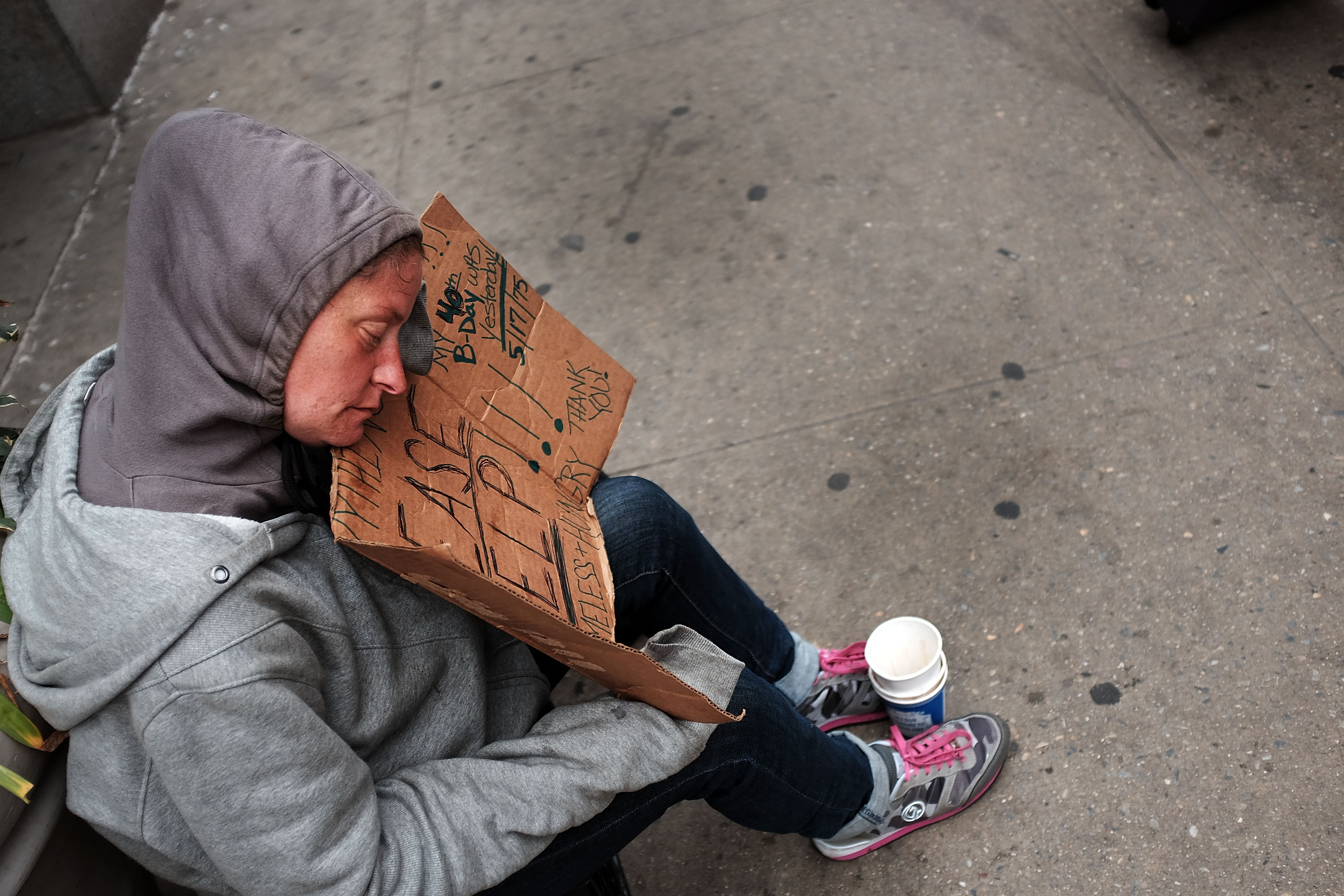 A homeless woman in Manhattan