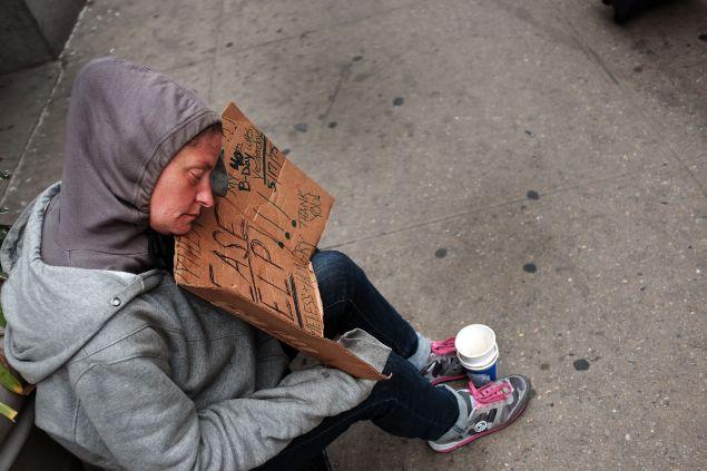A homeless woman in Manhattan