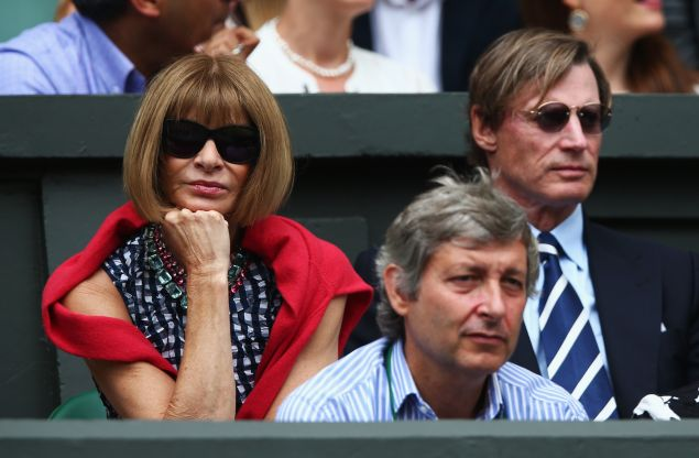 Anna Wintour on Day 13 of Wimbledon 2015. (Photo: Clive Brunskill/Getty Images)