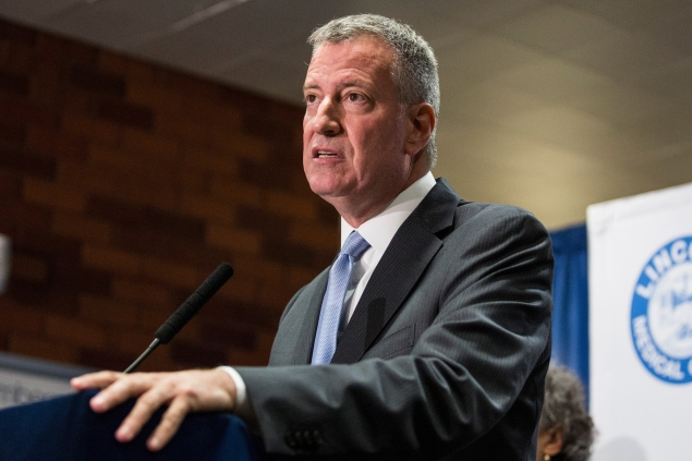 New York City Mayor Bill de Blasio speaks at a press conference in the Bronx.  (Photo by Andrew Burton/Getty Images)