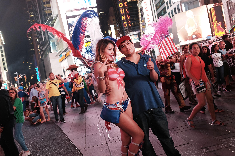 The Times Square pedestrian plaza.