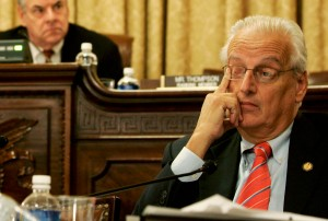 WASHINGTON - OCTOBER 19: U.S. Rep. Bill Pascrell Jr. (D-NJ) touches his eye as Chairman Rep. Peter King (R-NY) (L) sits behind him during a hearing before the House Committee on Homeland Security on Capitol Hill October 19, 2005 in Washington, DC. The hearing was to examine the roles and responsibilities of local, state and federal agencies in disaster response. (Photo by Alex Wong/Getty Images)