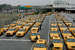 Taxis wait in line for returning travelers at LaGuardia Airport. (Photo: Stephen Chernin/Getty Images)