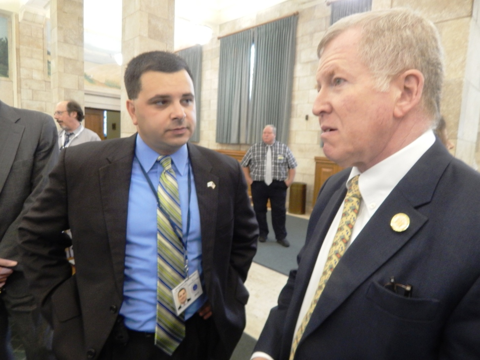Gordon, right, with Anthony Attanasio, executive director of the Utilities and Transportation Contractors Association.