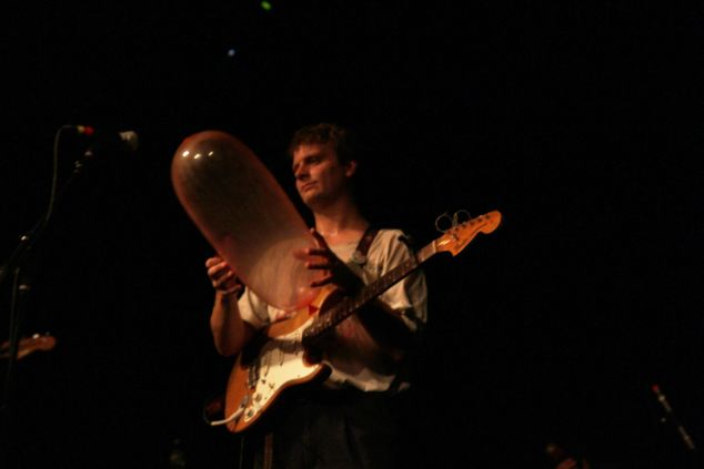 Mac Demarco is not impressed with the crowd's condom balloons. (Justin Joffe for Observer)