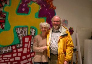 Author Jonathan Fineberg with the artist Elizabeth Murray.