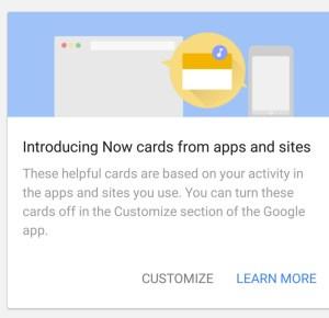 (Image: screenshot from Google Now screen)