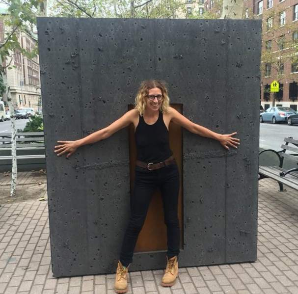 Davina Semo with her public sculpture 'Everything is Permitted' at Broadway and 117th Street. (Photo: Courtesy of Marlborough Chelsea)