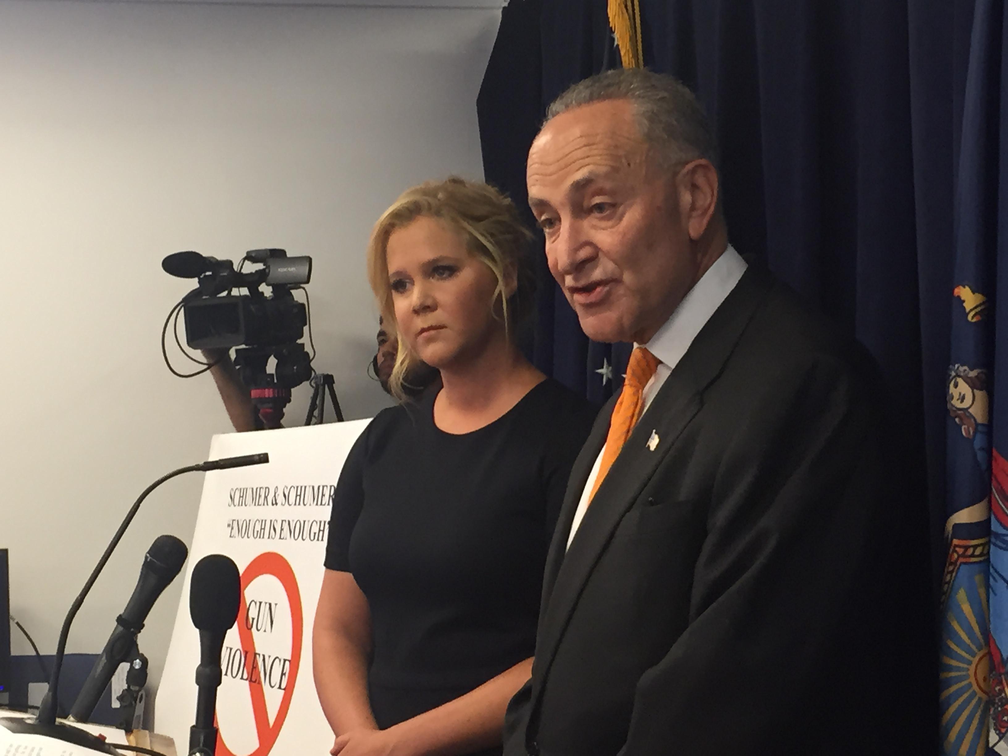 Comedian Amy Schumer and her cousin Sen. Charles Schumer discuss gun control legislation. (Photo: Jillian Jorgensen for Observer)