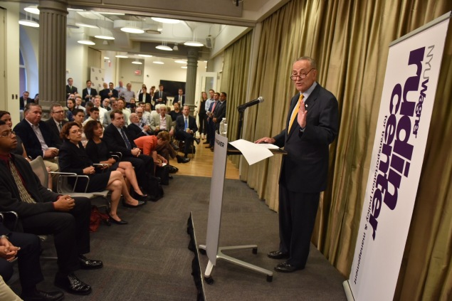 Sen. Charles Schumer deliver remarks today at NYU. (Photo: Don Pollard)