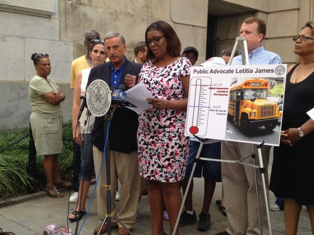 Public advocate Letitia James is suing for monitoring and enforcement of air conditioning on special ed. buses.