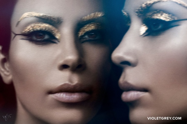 Kim Kardashian channelling Cleopatria in the latest issue of Violet Files. (Photo: Ben Hassett)
