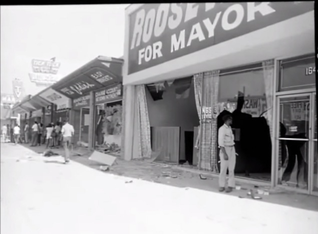 A screen shot of a recently released film of rare footage from the Watts riots.