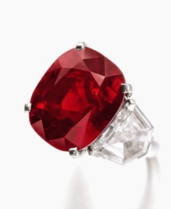 In May, this Cartier 'Pigeon-Blood Red' Ruby brought $30.3 million at a Sotheby's auction in Geneva. (Courtesy: Sotheby's)