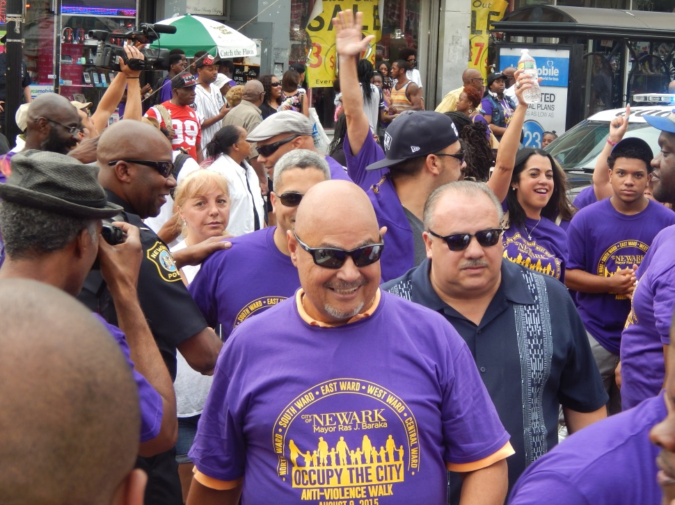 Gonzalez, Ramos and Quintana (at right) arrived to downtown cheers from the North Ward in Newark on Saturday.