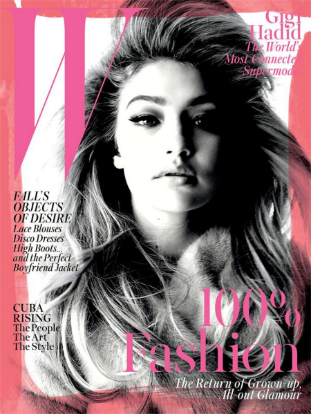 Ms. Hadid on the cover of W. (Photo: Facebook/W)