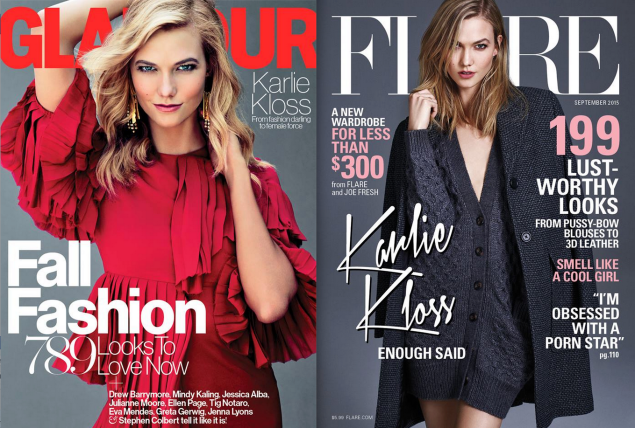 Ms. Kloss on the covers of Glamour and Flare. (Photos: Facebook/Glamour, Facebook/Flare)