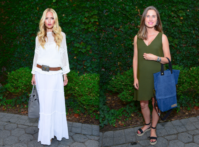 Ms. Zoe sported an all-white boho look, while Ms. Lauren opted for a green dress that matched her natural surroundings. (Photos: Patrick McMullan)