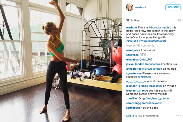 Ms. Hunt did some stretching. (Photo: Instagram/Martha Hunt)