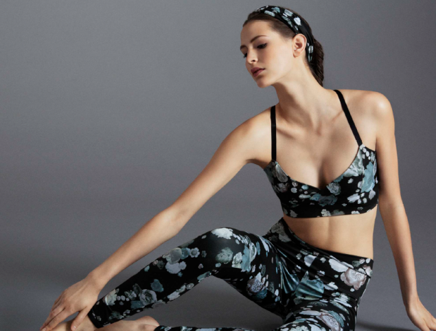 The V-bra and leggings in a floral print. (Photo: Live the Process)