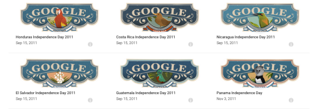 Central American Google Doodles from 2011. (Image: Screenshot)
