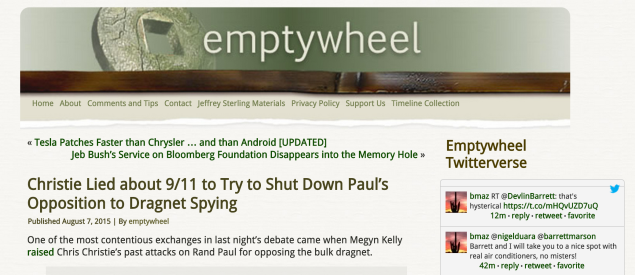 This headline from EmptyWheel also accuses Christie of having 'lied.' (screencap)