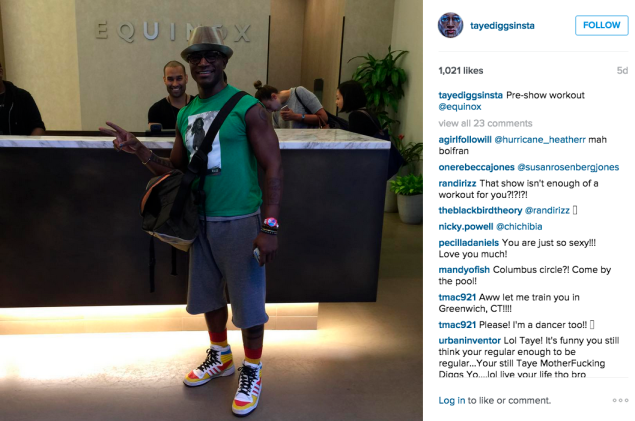Taye Diggs stopped at Equinox before a show. (Photo: Instagram/Taye Diggs)