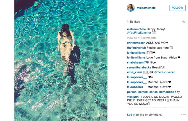 Lea Michele went for a swim. (Photo: Instagram/Lea Michele)
